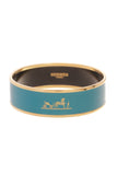 Hermes Caleche Wide Bangle Bracelet Enamel Teal Gold