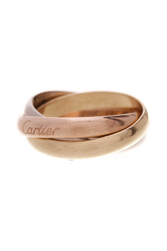 Cartier Trinity Band Ring Tri-Color Gold Size 7.25