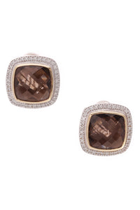 David Yurman 14mm Smokey Quartz Albion Earrings Silver Gold