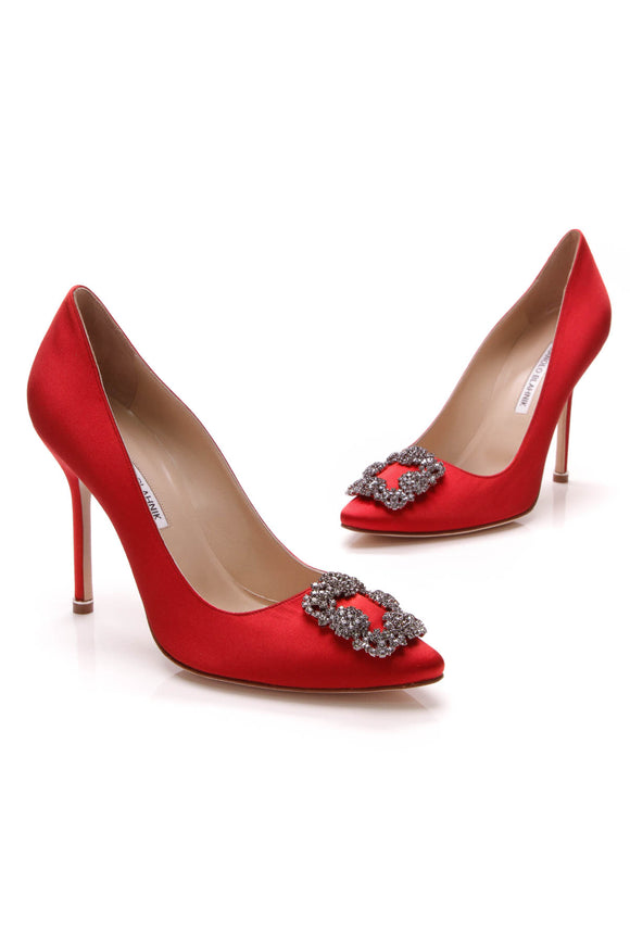 Manolo Blahnik Hangsi Pumps Red Satin Size 39.5