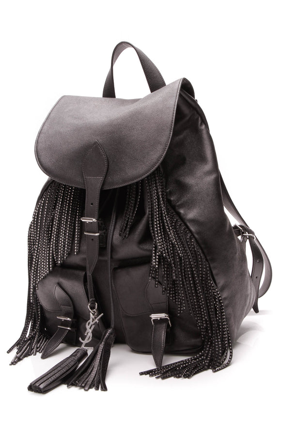 Yves Saint Laurent YSL Studded Fringe Festival Backpack Black