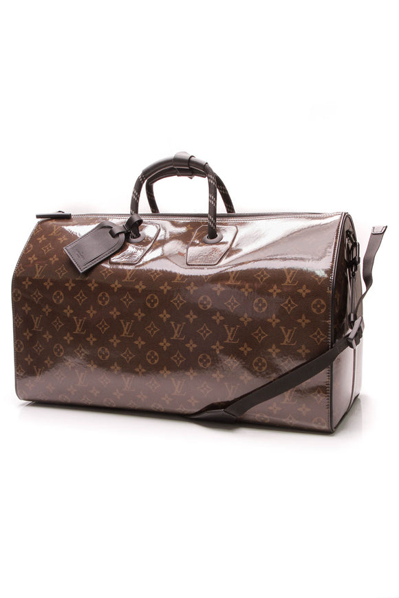 Louis Vuitton Keepall Bandouliere 50 Travel Bag Monogram Glaze Brown Black