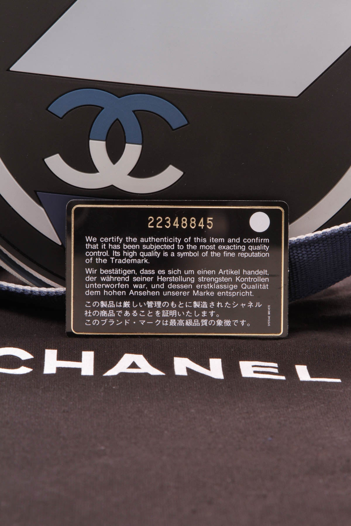 fe3dd3bc3781 Chanel Round Airlines Messenger Bag Toile Rubber Black Blue White