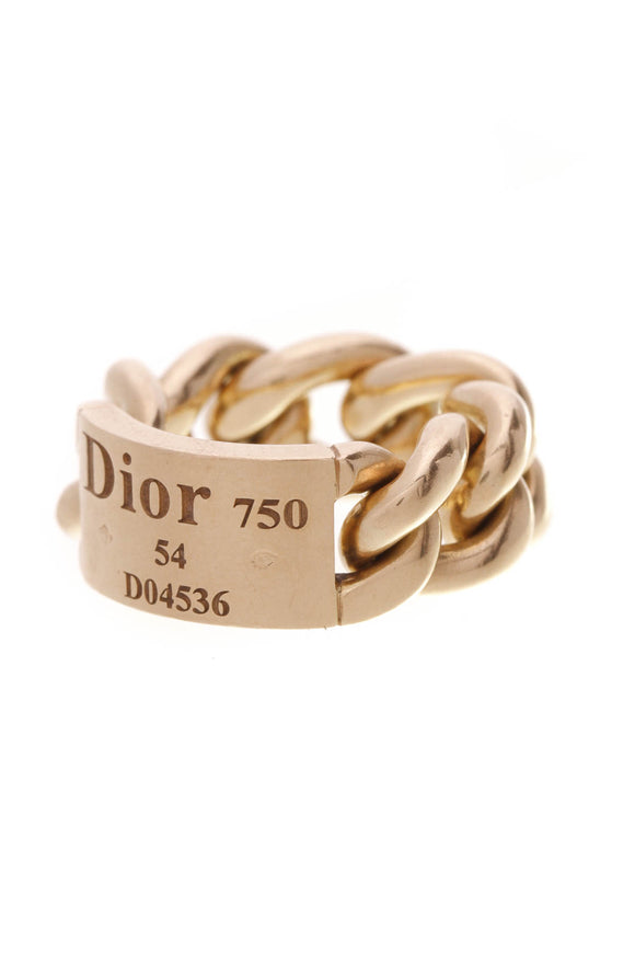 Christian Dior Gourmette Chain Ring Gold Size 6