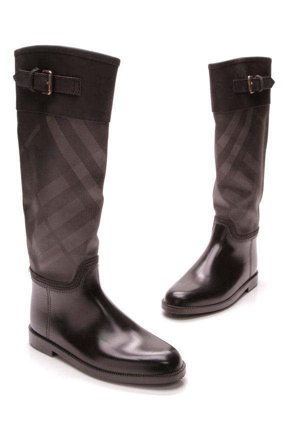 Burberry Buckle Rain Boots Black Nova Check Size 38
