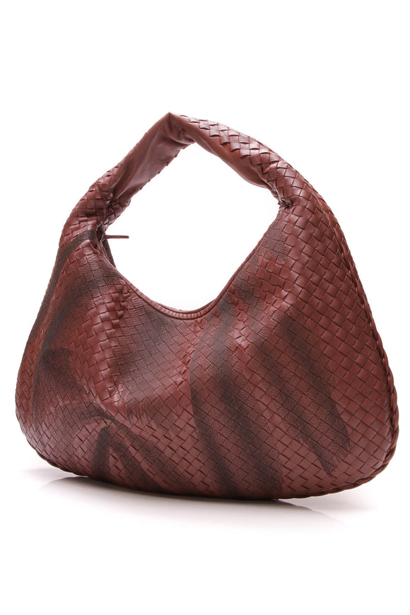 Bottega Vaneta Intrecciato Veneta Hobo Bag Burgundy