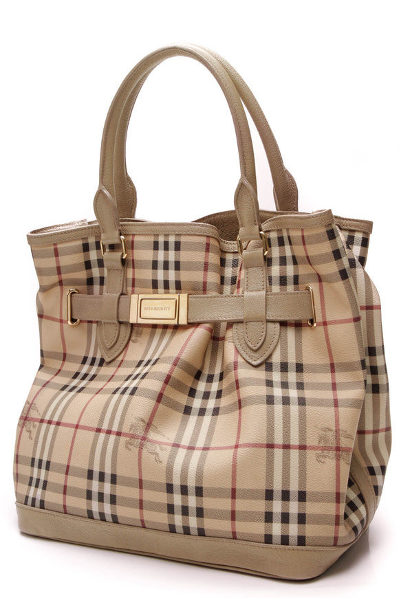 Burberry Golderton Tote Bag Haymarket Check Beige