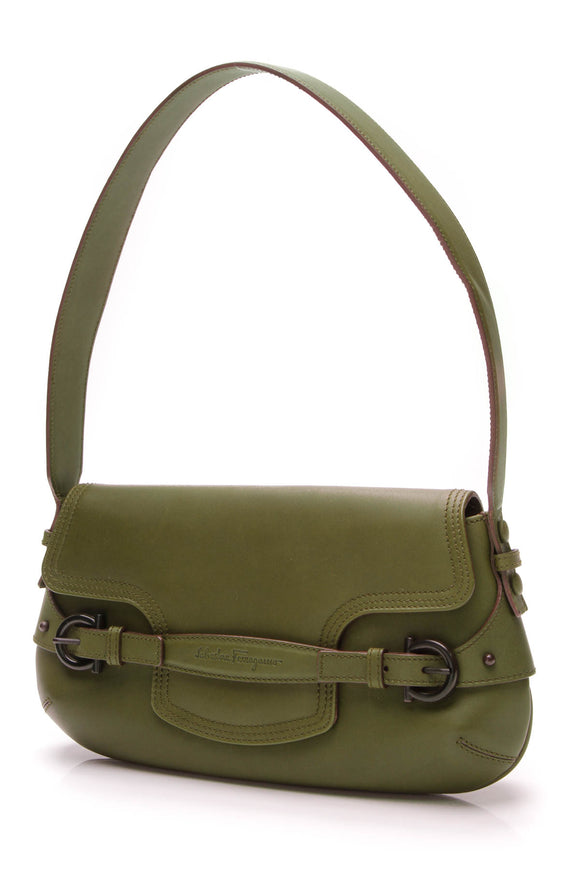Salvatore Ferragamo Buckle Shoulder Bag Green