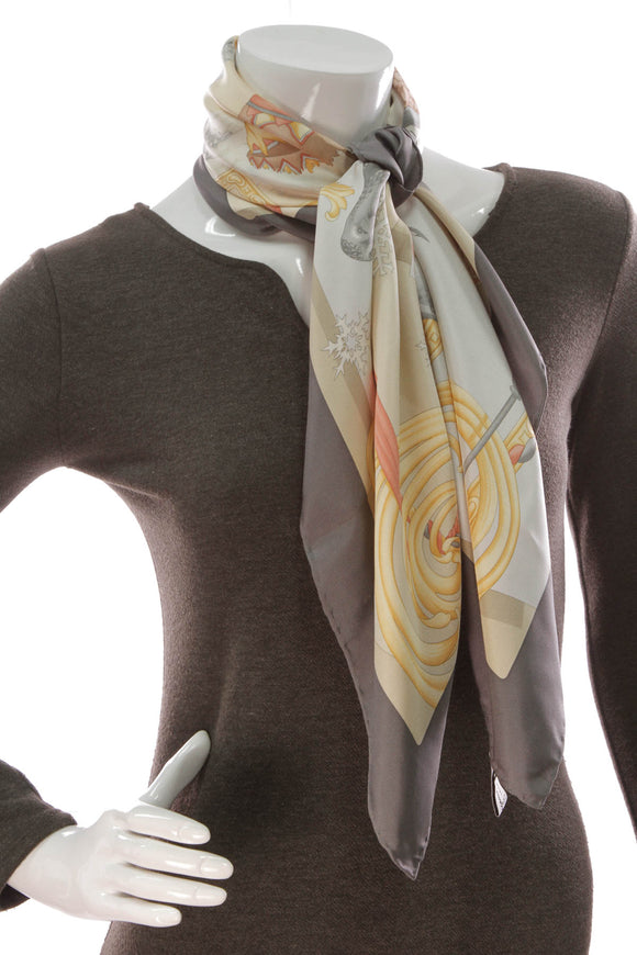Salvatore Ferragamo Printed Scarf Multicolor Gray
