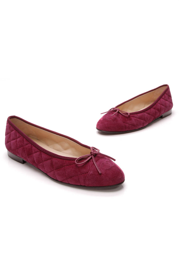 Chanel Quilted Suede Cap Toe Ballet Flats Fuchsia Size 40