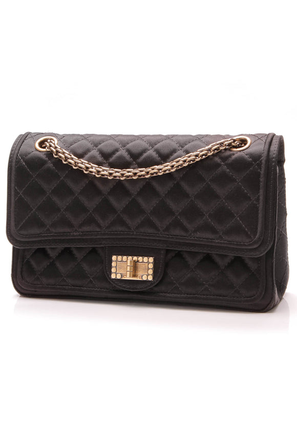 Chanel 2.55 Reissue Double Flap Bag 225 Black Satin