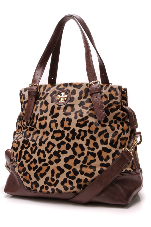Tory Burch City Zip Tote Bag Leopard Calf Hair