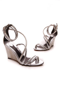 Brian Atwood Sedini Python Wedge Sandals Silver Size 6.5