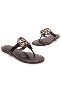 Tory Burch Miller Sandals Black Gold Size 7