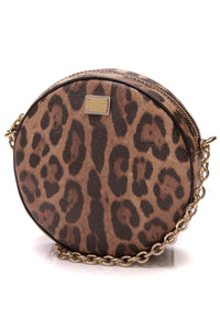Dolce and Gabbana Glam Round Crossbody Bag Leopard