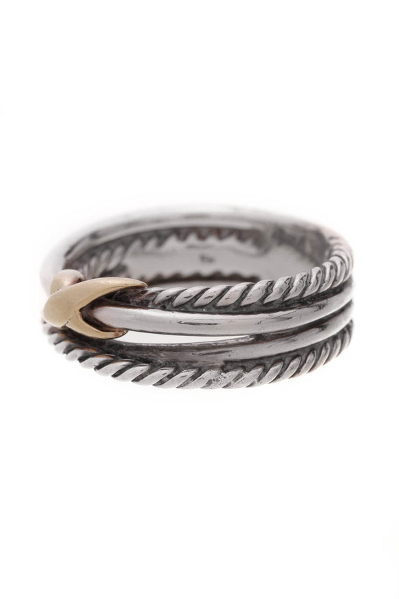 David Yurman Cable Crossover X Ring Silver Gold Size 5