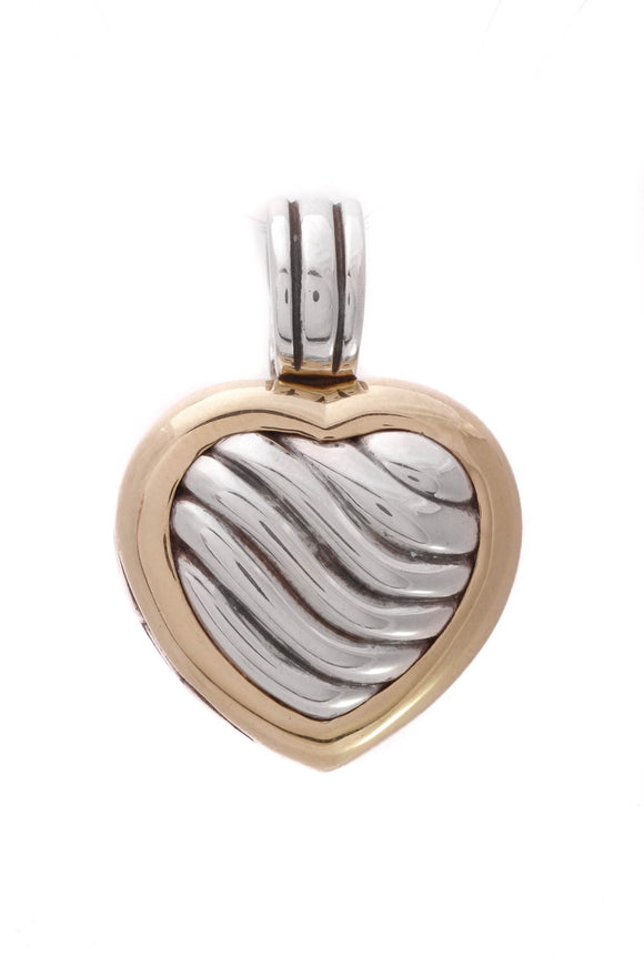David Yurman Sculpted Cable Heart Locket Pendant Silver Gold
