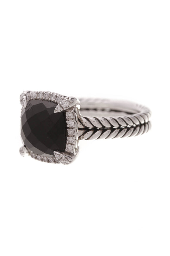 David Yurman Black Onyx Chatelaine Ring Silver Size 5