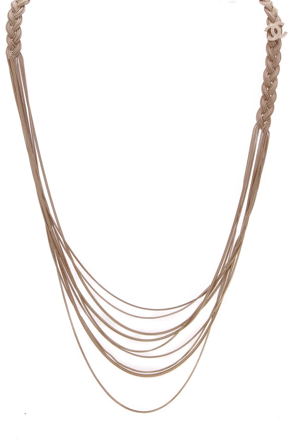 Chanel Braided CC Necklace Gold