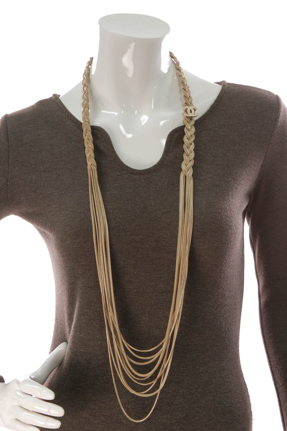Braided CC Necklace - Gold