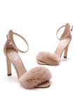 Max Mara Oliveto Fur Sandals Patent Leather Rabbit Fur Size 35 Nude
