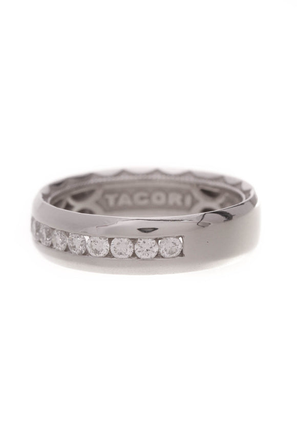 Tacori Sculpted Diamond Crescent Band Ring Platinum Size 6