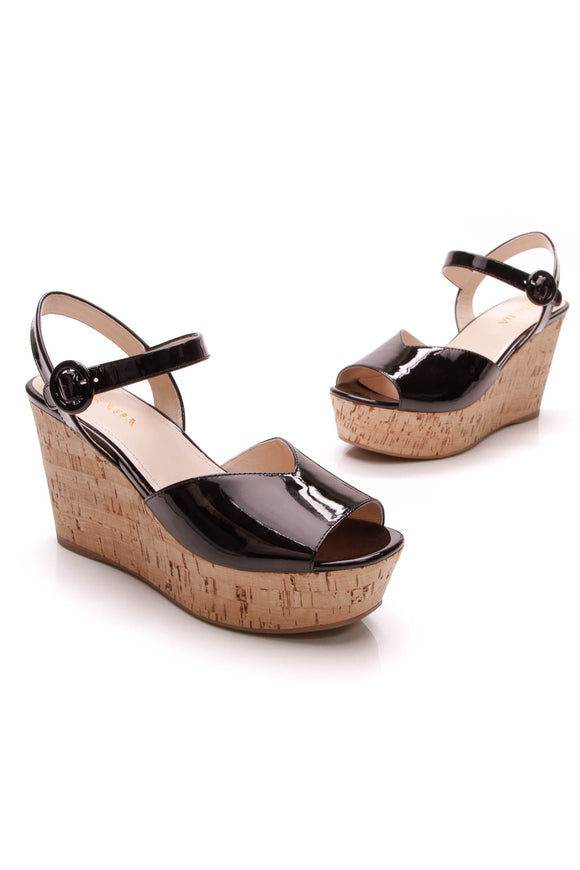 Prada Cork Wedge Sandals Black Size 39