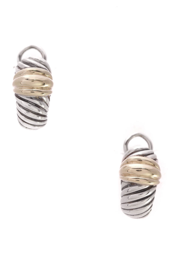 David Yurman Cable Shrimp Omega Earrings Silver Gold