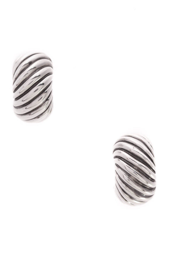 David Yurman Cable Classic Huggie Earrings Silver