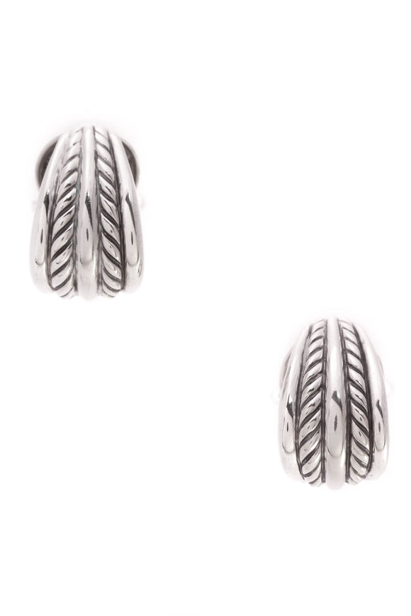 David Yurman Thoroughbred Omega Earrings Silver