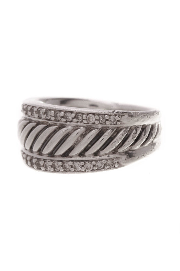 David Yurman Diamond Thoroughbred Band Ring Silver Size 5.5