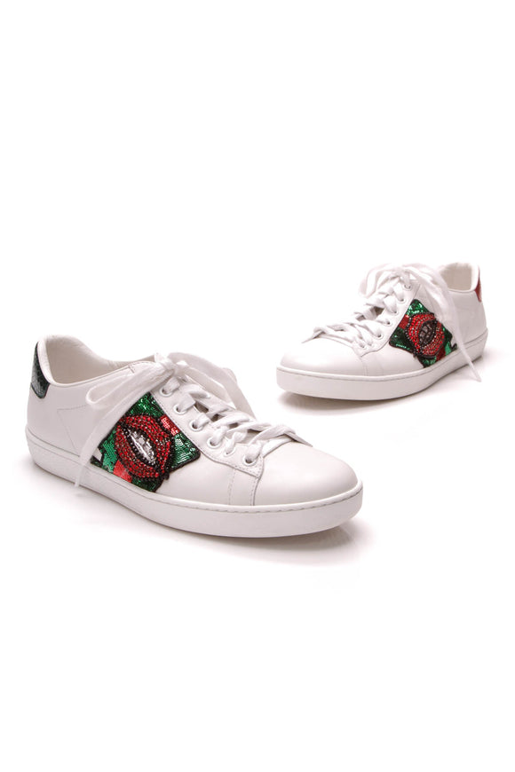 Gucci Ace Lips Embroidered Sneakers White Size 38