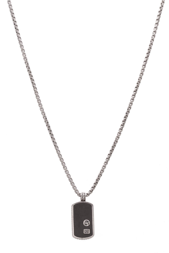 David Yurman Black Onyx Dog Tag Pendant Necklace Silver