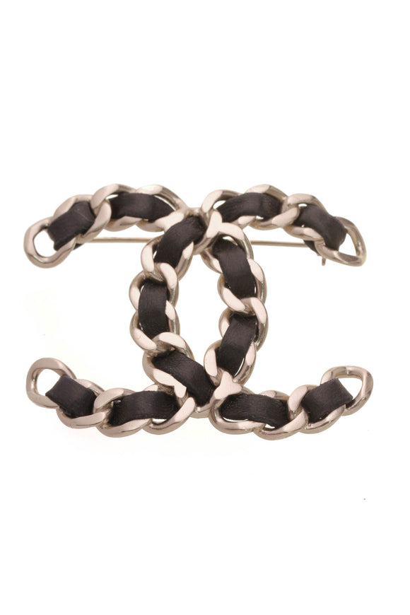 Chanel CC Chain Brooch Black Silver