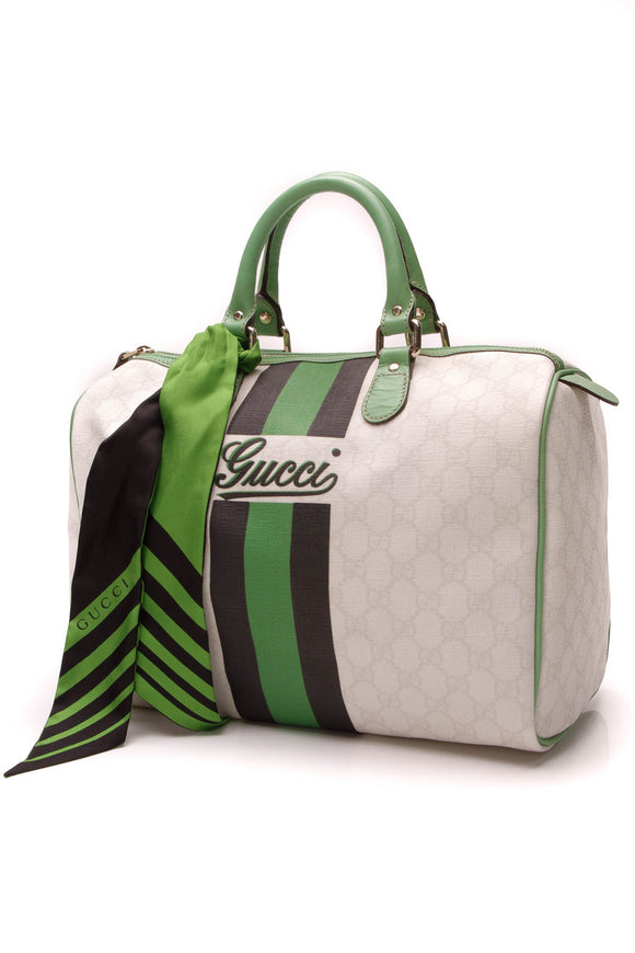 Gucci Vintage Web Medium Joy Boston Bag Ivory Green