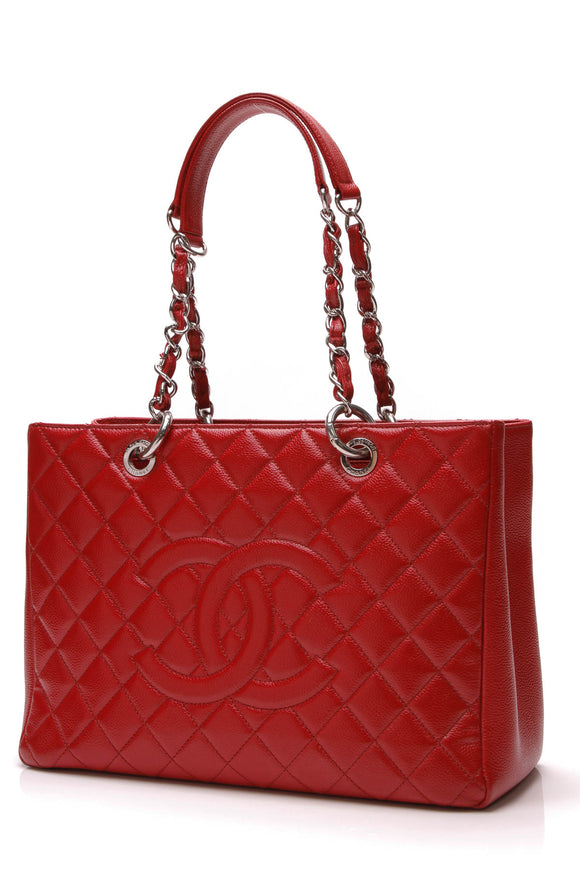 Chanel GST Grand Shopping Tote Bag Red Caviar