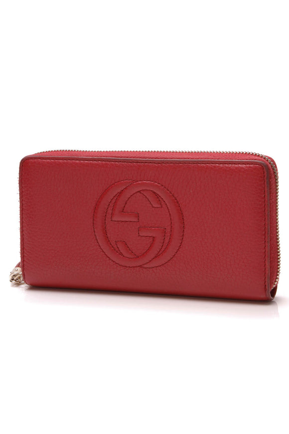 Gucci Soho Zip-Around Wallet Red