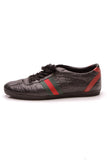 Gucci Lace-Up Web Men's Sneakers Guccissima Size 41 Black