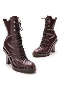 Valentino Soul Rockstud Booties Burgundy Size 39