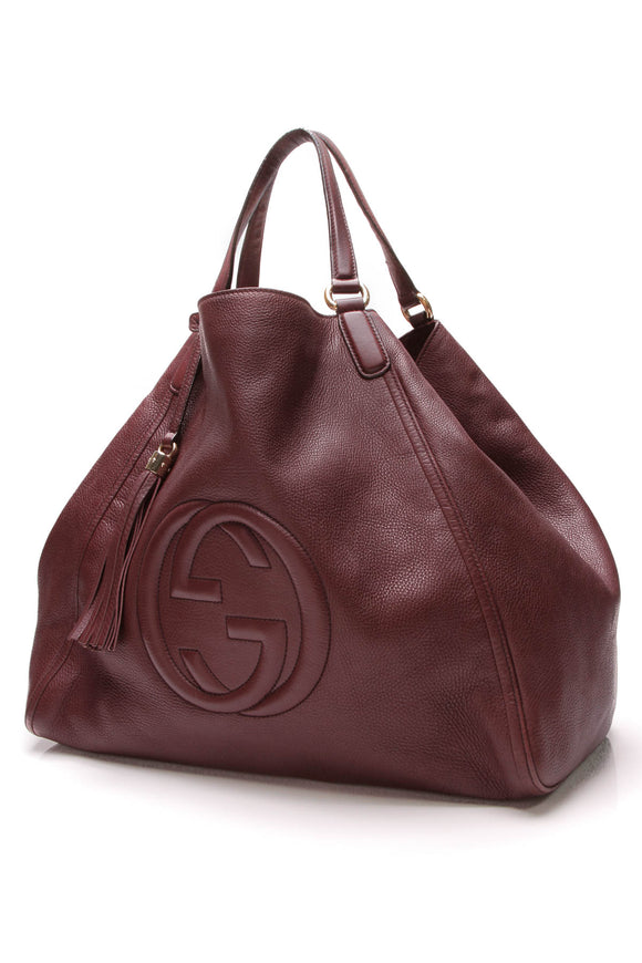 Gucci Large Soho Tote Bag Burgundy