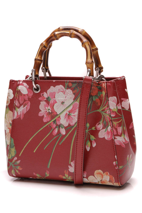 Gucci Blooms Mini Bamboo Handle Shopper Bag Red