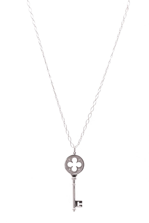 Tiffany & Co. Diamond Quatrefoil Key Pendant Necklace White Gold