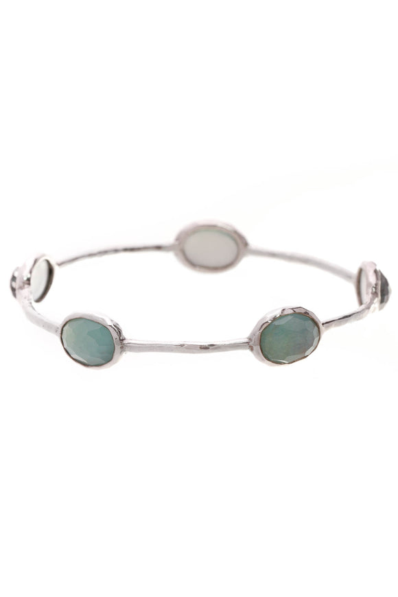 Ippolita 5-Stone Rock Candy Bangle Bracelet Silver Green