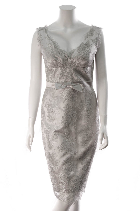 Escada Silver Lace Strapless Dress