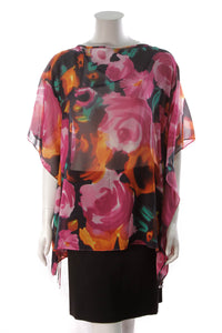 St. John Silk Peony Poncho Top Multicolor Size Small