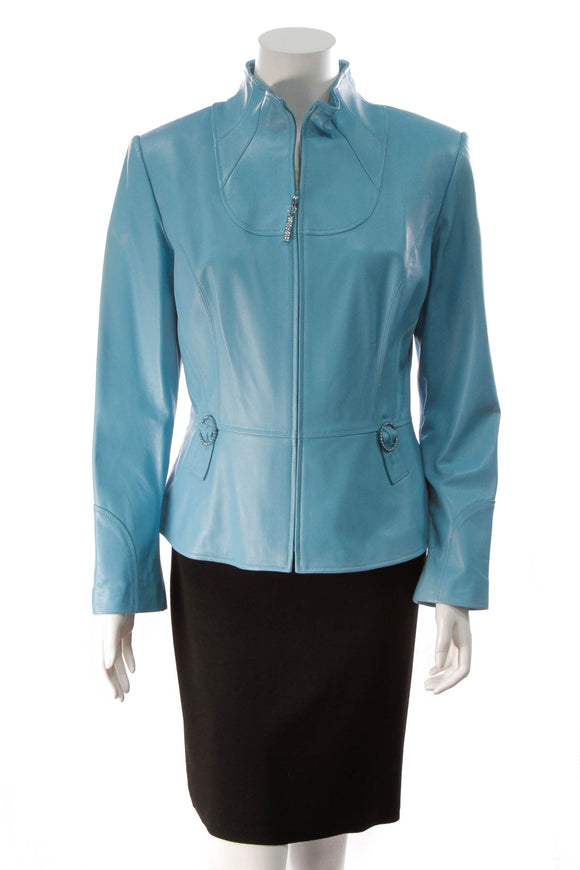 St. John Sport by Marie Gray Leather Jacket Blue Nile Size M