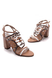 Hermes Rialto Sandals Multicolored Palissandre Size 38.5 Brown