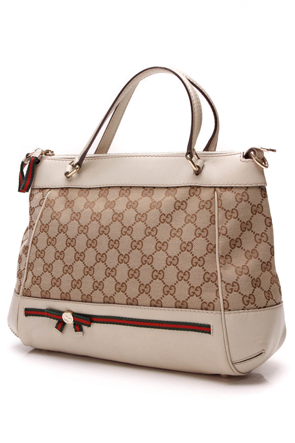 Gucci Mayfair Satchel Bag Signature Canvas Beige