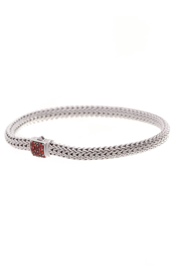 John Hardy Classic Chain Red Sapphire 5mm Bracelet Silver