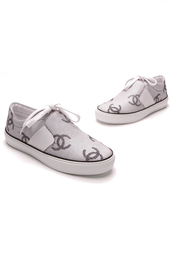 Chanel CC Lace-Up Sneakers White Black Size 38